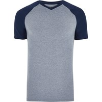 River Island Mens Navy Blue Muscle Fit V Neck T Shirt