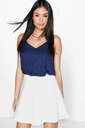Boohoo Fit And Flare Skater Skirt Ivory