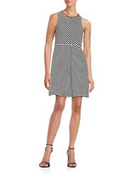 Jessica Simpson Striped Fit And Flare Dress Black White