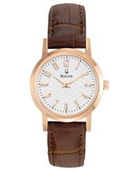 Bulova Women's Brown Leather Strap Watch 27Mm 97L121 Women's Shoes