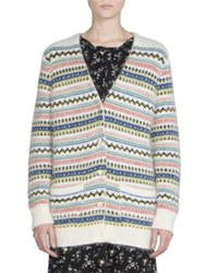 Saint Laurent Wool Blend Fair Isle Cardigan Natural Multi