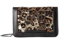 French Connection Vanessa Clutch Black Leopard Lamb Pu Sequins Clutch Handbags Animal Print