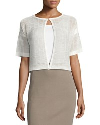 Lafayette 148 New York Shadow Striped Short Sleeve Shrug White