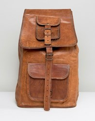 Reclaimed Vintage Leather Backpack In Brown Brown