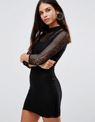 Club L 3 4 Sleeve High Neck Lace Bodycon Dress Black