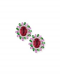 Alexander Laut Rubellite Cabochon Earrings With Diamonds Pink Sapphire And Tourmaline