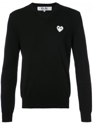 Comme Des Garcons Play V Neck Pullover With White Heart Wool M Black