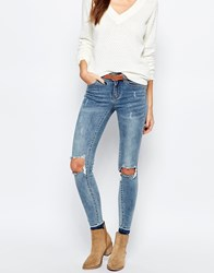 Vila Busted Knee Skinny Jeans Blue