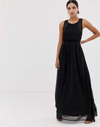 Ax Paris Tulle Maxi Dress With Embellished Detail Black