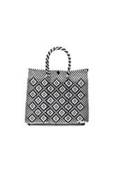 Truss Small Crossbody Tote In Black White Checkered And Plaid