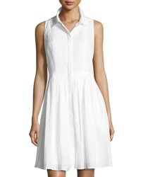 Neiman Marcus Sleeveless Button Front Linen Dress White