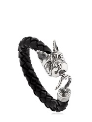 Manuel Bozzi Bulldog Leather And Silver Bracelet