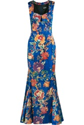 Just Cavalli Printed Satin Gown Blue