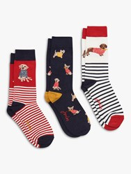 Joules Brill Bamboo Dog And Stripe Print Ankle Socks Pack Of 3 Multi