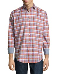 Thomas Dean Gingham Twill Sport Shirt Orange Multi