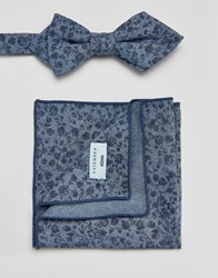 Minimum Bow Tie And Pocket Square Set In Floral Blue