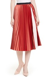 Ted Baker Women's London Osla Colorblock Pleated Midi Skirt Brick Red