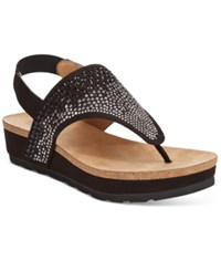 White Mountain Safari Thong Wedge Sandals Women's Shoes Black