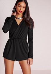 Missguided Tall Wrap Front Crepe Playsuit Black