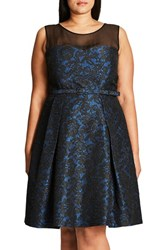 City Chic Plus Size Women's 'After Dark' Lace Fit And Flare Dress