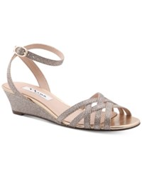 Nina Faria Strappy Wedge Evening Sandals Women's Shoes Latte