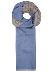 Gucci Blue Reversible Wool Scarf