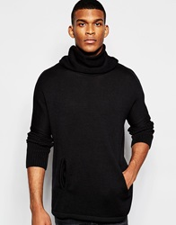 Asos Extreme Cowl Neck Jumper Black