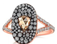 Susan Foster 18K Rose Gold Split Band Diamond Bubble Ring With Champagne Diamond Center Multi