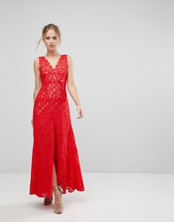 Aijek Maxi Dress In Scallop Lace With Front Slit Rouge Red