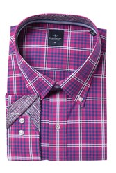 Tailorbyrd Plaid Long Sleeve Shirt Big And Tall Magenta