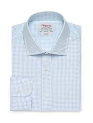 T.M.Lewin Check Slim Fit Long Sleeve Classic Collar Formal Green