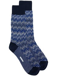 Missoni Zig Zag Knit Socks Blue