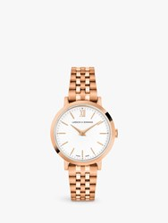 Larsson And Jennings Unisex Lugano Bracelet Strap Watch Rose Gold White Ljxii126004