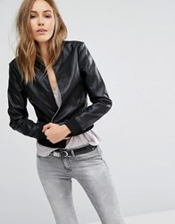 Mango Leather Look Bomber Jacket Black