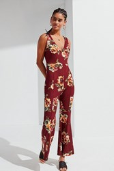 Urban Outfitters Uo Kick Flare Floral Jumpsuit Maroon