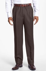 Men's Big And Tall Santorelli 'Luxury Serge' Double Pleated Wool Trousers Espresso