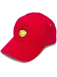 Ami Alexandre Mattiussi Cap With Smiley Patch Red