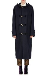 Dries Van Noten Women's Reard Wool Blend Oversized Duffle Coat Navy