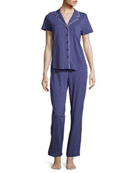Nautica Two Piece Top And Pants Pajama Set Blue