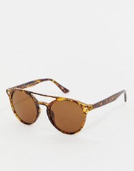 7X Svnx Retro Round Sunglasses In Tort Brown
