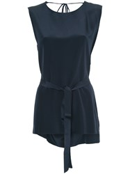Kacey Devlin Deconstructed Collapse Back Top Silk Blue