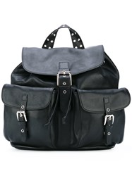 Red Valentino Multi Pockets Flap Backpack Women Calf Leather Metal One Size Black