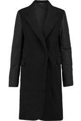 James Perse Puffer Sleeve Wool Blend Coat Black