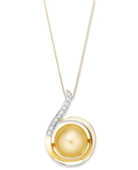 Macy's 14K Gold Necklace Golden South Sea Pearl 11Mm And Diamond 1 10 Ct. T.W. Swirl Pendant