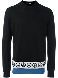 Love Moschino Peace Print Knit Sweater Black