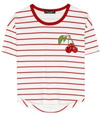 Dolce And Gabbana Striped Cotton T Shirt With Applique White