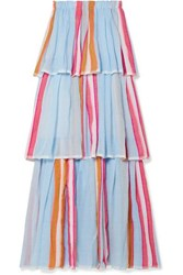 Lemlem Eskedar Tiered Striped Cotton Blend Gauze Maxi Dress Light Blue