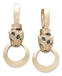 Effy Collection Effy Signature Black And White Diamond 3 4 Ct. T.W. And Emerald Accent Door Knocker Panther Earrings In 14K Rose Gold