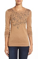 Petite Women's Halogen Embroidered Crewneck Sweater Heather Camel Charcoal Floral