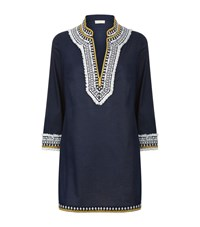 Tory Burch Embroidered Trim Tunic Female Blue